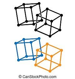 symbole, blockchain, contour