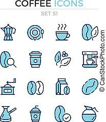 symbole, bohnenkaffee, prämie, grobdarstellung, heiligenbilder, einfache , set., modern, icons., vektor, pictograms., quality., linie, design., schlanke