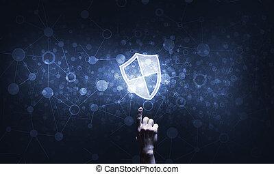 symbole, bouclier, protection, fond, accès, icône, bleu sombre