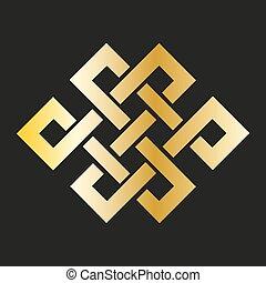 symbole, bouddhiste, gold., noeud, icône, interminable