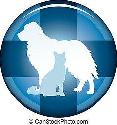 symbole, bouton, vétérinaire, monde médical