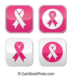 symbole, brust, geschenkband, krebs