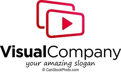 symbole, business, logo, vidéo, visuel, illustration