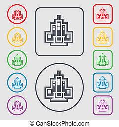 symbole, carrée, boutons, frame., icône, signe., gratte-ciel, rond