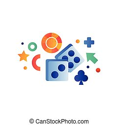 symbole, casino, deux, illustration, vecteur, fond, jeux & paris, dés, blanc