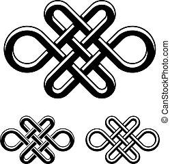 symbole celtique, vecteur, noir, noeud, blanc, interminable