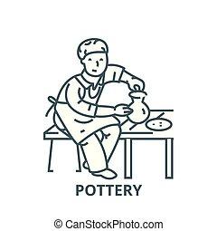 symbole, ceramist, contour, poterie, linéaire, concept, ...