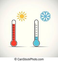 symbole, chaud, chaleur, temps, thermomètre, froid, icône