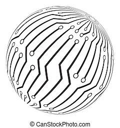 symbole, circut, vecteur, planche, logo, icône, globe, ...