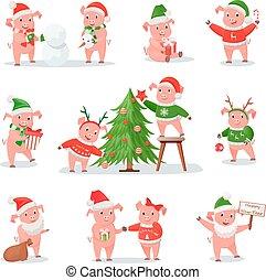 symbole, cochon, 2019, année, nouveau, chapeau, noël