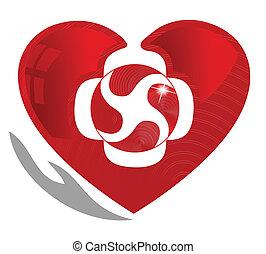 symbole, coeur, cardiologie, sain