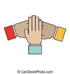 symbole, collaboration, mains