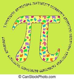 symbole, concept, formulaire, illustration, paume, pi, pattern., vecteur
