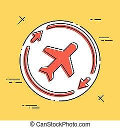 symbole, concept, ligne aérienne, icône