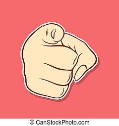 symbole, conception, doigt indique