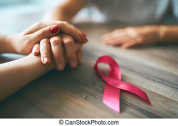 symbole, conscience, cancer, mains, femelles