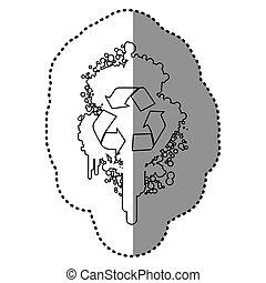 symbole, contour, pulvérisateurs, aérosol, recycler, tache, intérieur