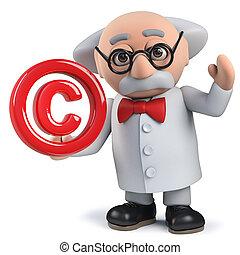 symbole copyright, caractère, scientifique, fou, tenue, 3d