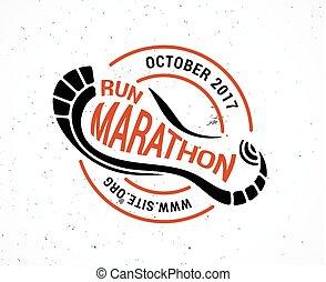 symbole, courant, logo, marathon, icône, affiche, course