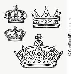 symbole, couronne, dessin, main