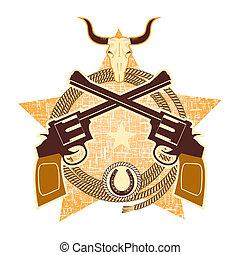 symbole, crâne, fusils, taureau, occidental