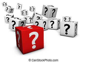 symbole, cubes, point interrogation