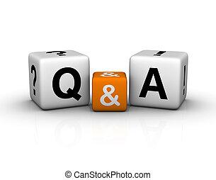 symbole, cubes, question, réponses