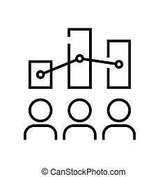 symbole., diagrammes, vecteur, concept, ligne, linéaire, icône, illustration, signe, actionnaires, contour