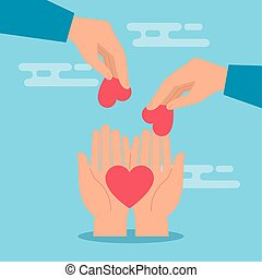 symbole, donation, cœurs, mains, charité