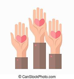 symbole, donation, vecteur, sanguine, gabarit, mains, cœurs, charité