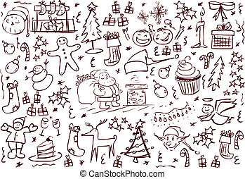 symbole, doodles, weihnachten