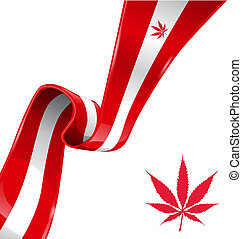 symbole, drapeau canadien, marijuana