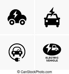 symbole, elektrisches fahrzeug
