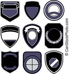 symbole, ensemble, écusson, bouclier