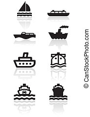 symbole, ensemble, bateau, illustration
