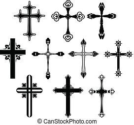 symbole, ensemble, croix