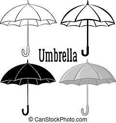 symbole, ensemble, parapluie