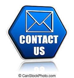 symbole, enveloppe, nous, contact, hexagone, bouton