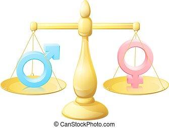 symbole, femme, homme, balances