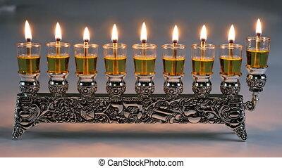 symbole, festival, vacances, hanukkah, juif, lumières