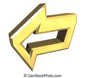 symbole, -, flèche, or, 3d
