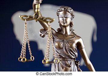 symbole, flag., justice, haut., wyoming, droit & loi, état, fin