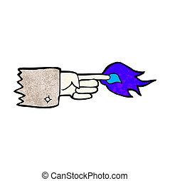 symbole, flamboyant, dessin animé, pointage doigt
