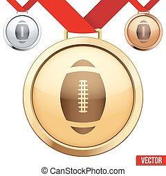 symbole, football, médaille, intérieur, or