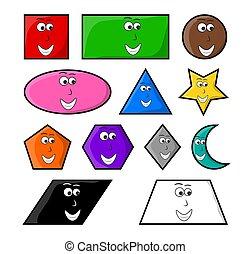 symbole, formes, vecteur, sourire, géométrique, icône, dessin animé, design.
