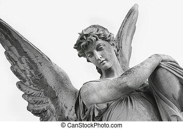 symbole, (fragment, humain, ange, statue), sécurité, gardien