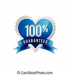 symbole, gabarit, guaranteed, 100%, amour, qualité
