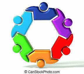 symbole, gens, collaboration, business, 3d
