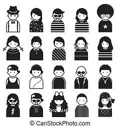 symbole, gens, divers, adolescent, icônes