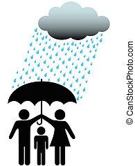 symbole, gens, famille, sûr, sous, parapluie, nuage, &, pluie